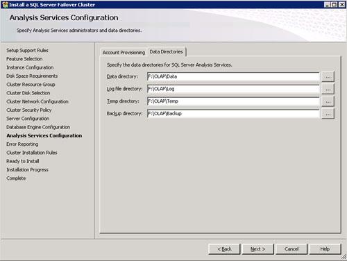 En la pantalla Analysis Services Configuration, en la pestaña Data Directories podemos especificar las diferentes rutas que deseamos utilizar para nuestra Instancia de Analysis Services. Click Next para continuar.