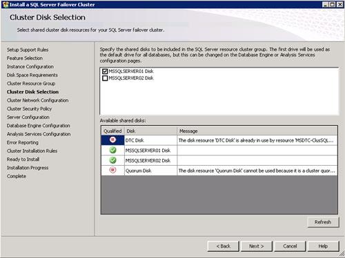 En la pantalla Cluster Disk Selection seleccionaremos los discos compartidos del Cluster que deseamos incluir en nuestro Grupo de Recursos, para ser utilizados por SQL Server y Analysis Services. Click Next para continuar.