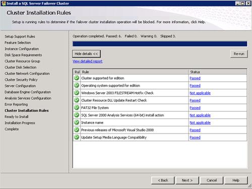 En la pantalla Cluster Installation Rules revisamos los diferentes mensajes y si está todo OK click Next.