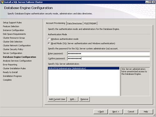 En la pantalla Database Engine Configuration, en la pestaña Account Provisioning especificaremos el tipo de Autenticación que deseamos utilizar en nuestra instancia de SQL Server (Windows o Mixta) así como a qué usuarios deseamos conceder privilegios elevados sobre dicha instancia.