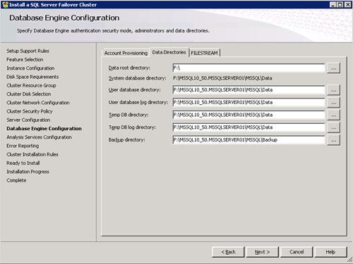En la pantalla Database Engine Configuration, en la pestaña Data Directories podemos especificar las diferentes rutas que deseamos utilizar para nuestra Instancia de SQL Server.