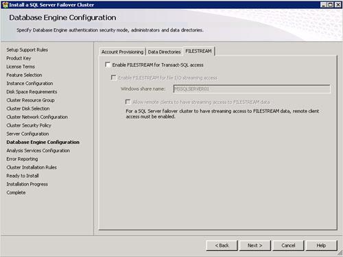 En la pantalla Database Engine Configuration, en la pestaña FILESTREAM podemos habilitar la configuración de FileStream en nuestra instancia de SQL Server, si fuera necesario. Click Next para continuar.