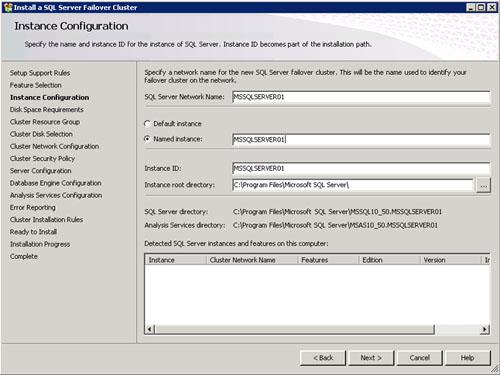 En la pantalla Instance Configuration seleccionaremos el nombre virtual que deseamos (SQL Server Network Name) sobre el que montaremos SQL Server. También especificaremos si deseamos montar una Instancia por Defecto o una Instancia con Nombre (en este segundo caso, deberemos especificar el nombre deseado para la instancia). Click Next para continuar.