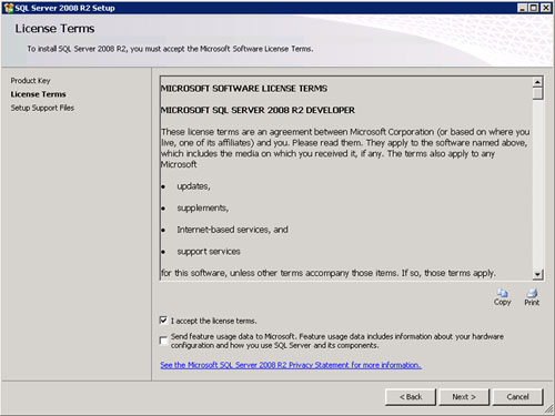 En la pantalla License Terms, aceptamos los términos de licencia. Click Next para continuar.
