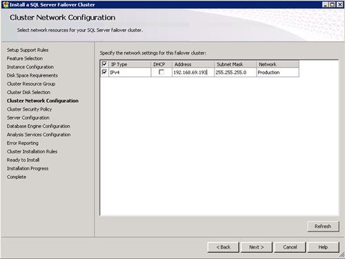 En la pantalla Cluster Network Configuration especificaremos la dirección IP que deseamos utilizar. Click Next para continuar.