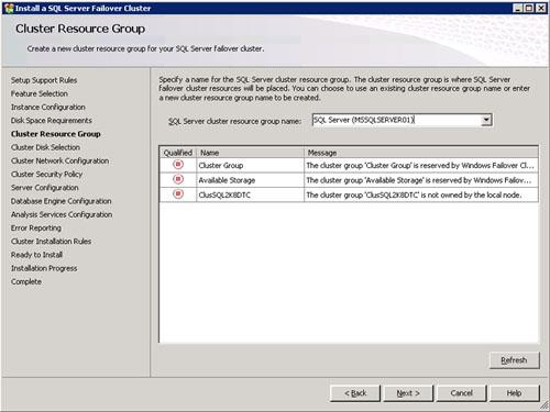 En la pantalla Cluster Resource Group, deberemos especificar sobre qué Grupo de Recursos deseamos realizar nuestra instalación de SQL Server y Analysis Services. Téngase en cuenta, que podemos seleccionar un Grupo de Recursos existente (que no esté siendo utilizado) o bien especificar el nombre de un nuevo Grupo de Recursos que será creado durante la propia instalación. Click Next para continuar.