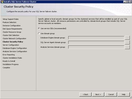 En la pantalla Cluster Security Policy seleccionaremos la opción Use service SIDs. Click Next para continuar.
