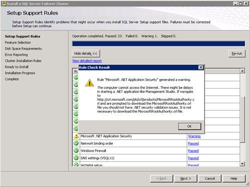 Un evento típico que nos podemos encontrar es el de Microsoft .Net Application Security, que suele ocurrir cuando no tenemos acceso a Internet desde la máquina en la que estamos ejecutando SQL Server.