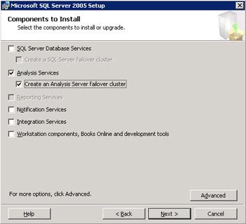 Diálogo Components to Install de la instalación de SQL Server 2005, dónde especificar qué componentes de SQL Server 2005 se desean instalar.