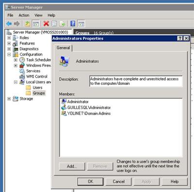 Lo primero que vamos a hacer, es conectarnos a la máquina de la Extranet sobre la que vamos a instalar SharePoint 2010, para conceder permisos sobre la máquina al usuario con el que vamos a realizar la instalación de SharePoint 2010. Es muy importante que realicemos esta instalación de SharePoint con el mismo usuario que utilizamos para instalar el resto de servidores de la Granja de SharePoint 2010. En mi caso, utilicé el usuario Administrator, una mala práctica, aunque suficiente para un entorno de laboratorio