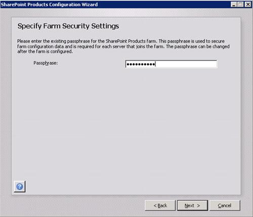En la pantalla Specify Farm Security Settings, deberemos especificar la Passphrase de nuestra Granja, que definimos durante la creación de la misma. Click Next para continuar.