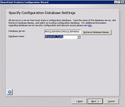En la pantalla Specify Configuration Database Settings, deberemos especificar el nombre de la instancia de SQL Server así como el nombre la Base de Datos de Configuración de nuestra Granja de SharePoint. Téngase en cuenta, que en nuestro caso hemos utilizado el nombre corto, que es cómo está configurado en el resto de servidores MOSS de nuestra Granja, siendo este uno de los motivos por el cual configuramos previamente la resolución de nombres cortos en las propiedades de TCP/IP. En caso de que estuviésemos utilizando Alias SQL para conectarnos a SQL Server, deberemos configurar los Alias SQL tanto a nivel x86 como a nivel x64, ya que estamos en una máquina de 64-bits. Click Next para continuar.