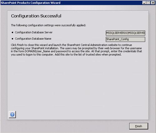 En unos instantes, nuestro nuevo servidor SharePoint 2010 de la Extranet estará unido satisfactoriamente a nuestra Granja. Click Finish.