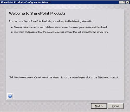 Una vez que hemos realizado la instalación del servidor, deberemos ejecutar el asistente de configuración (SharePoint Products Configuration Wizard). En la pantalla de bienvenida, click Next para continuar