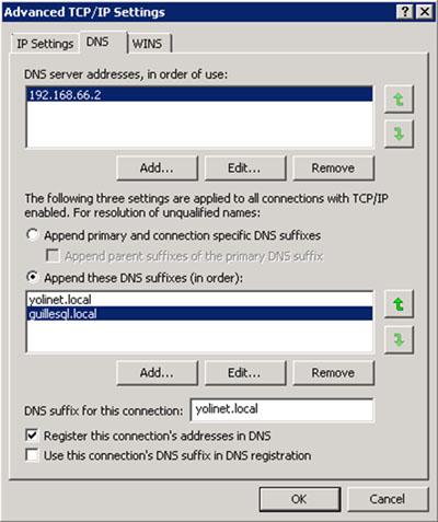 Por otro lado, como comentamos anteriormente, la resolución de nombres DNS está garantiza con la configuración de los reenviadores condicionales (Conditional Forwarders). Sin embargo, nos resultará de gran utilidad garantizar también la resolución de nombres cortos. Evidentemente, no vamos a utilizar WINS a estas alturas. Lo que vamos a hacer, es configurar el orden de sufijos DNS en la configuración TCPIP de nuestra tarjeta de red, para de este modo, garantizar que el servidor es capaz de resolver los nombres cortos de cualquier de los dos Dominios de Directorio Activo. A continuación se muestra un pantallazo con el detalle de la configuración realizada