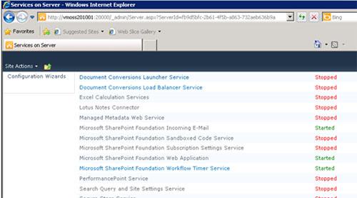 El nuevo servidor, tan sólo tendrá iniciados los servicios Microsoft SharePoint Foundation Incoming E-Mail, Microsoft SharePoint Foundation Web Application, y Microsoft SharePoint Foundation Workflow Timer Service.