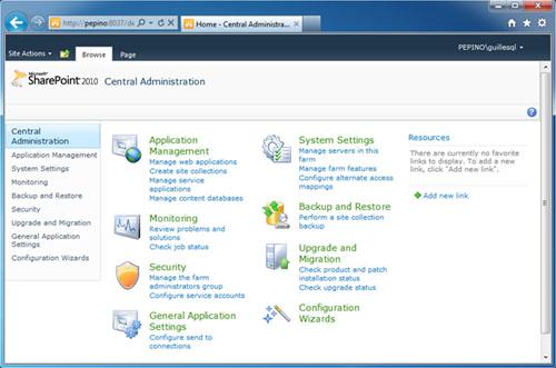 Y también podemos entrar a nuestra Consola de Administración Central de SharePoint Foundation 2010.