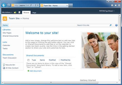Ya podemos entrar a nuestro Portal de SharePoint Foundation 2010.