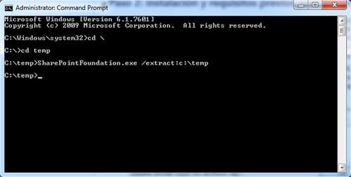 Extraeremos el ejecutable de SharePoint 2010. En nuestro caso, nos hemos descargado (de gratis) el SharePoint Foundation 2010 desde la Web de Microsoft, por lo que el ejecutable en cuestión es el SharePointFoundation.exe. Así que ejecutaremos algo como SharePointFoundation.exe /extract:c:\temp