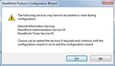 Nuevo mensaje emergente, avisando de que ciertos Servicios de Windows pueden ser iniciados o re-iniciados durante la ejecución del Asistente de Configuración de SharePoint. Click Yes para continuar.