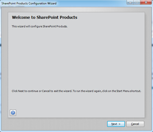 Ahora se iniciará automáticamente el Asistente de Configuración de SharePoint (psconfig.exe), excepto que indicásemos lo contrario en la anterior pantalla, al finalizar la instalación de SharePoint Foundation 2010. Click Next.