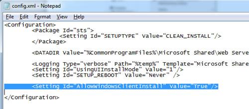 En nuestro caso, que estamos instalando SharePoint Foundation 2010, deberemos añadir la línea que se muestra resaltada en la siguiente pantalla capturada, para indicar que se permita la instalación desde sistemas de escritorio (Windows 7 o Windows Vista SP1). En el caso de estar instalando SharePoint Server 2010, existirá una línea similar, que tan sólo tendremos que modificar