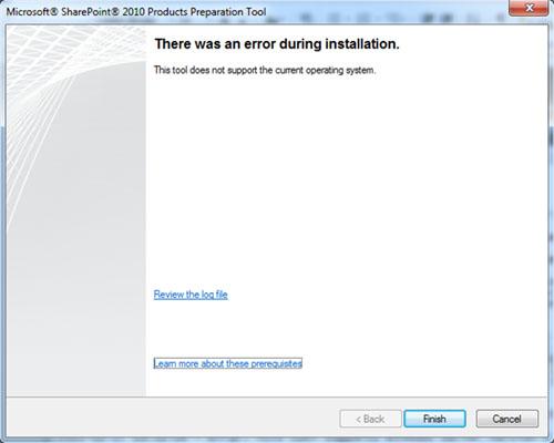 La instalación de los Pre-Requisitos de SharePoint desde el propio instalador no funciona sobre Windows 7 o Windows Vista SP1, de tal modo que si intentamos su instalación obtendremos un mensaje de error del tipo There was an error during installation