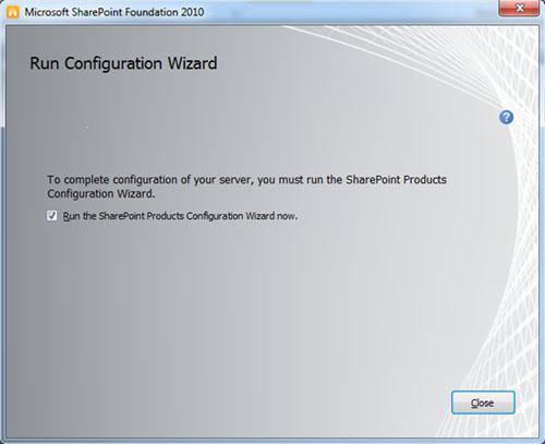 Barrita de progreso al canto. En unos minutos, SharePoint Foundation 2010 habrá quedado instalado. Click Close.