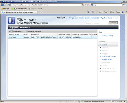 Aspecto del VMM Self-Service Portal