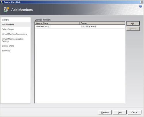 En la pantalla Add Member, utilizaremos el botón Add para agregar miembros al Role, ya sean usuarios o grupos de Directorio Activo