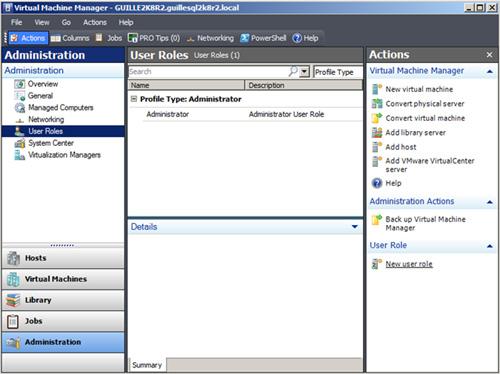 Crear un nuevo Role de tipo Self-Service User desde la VMM Administrator Console
