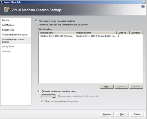 En la pantalla Virtual Machine Creation Settings, podemos especificar si deseamos que los usuarios del nuevo Role, puedan crear nuevas Máquinas Virtuales. En caso de que sea afirmativo, los usuarios sólo podrán crear nuevas Máquinas Virtuales basandose en las Plantillas de Máquina Virtual que les especifiquemos.