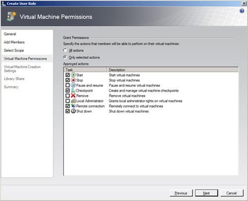 En la pantalla Virtual Machine Permissions, debemos seleccionar las acciones que deseamos permitir a los usuarios del nuevo Role