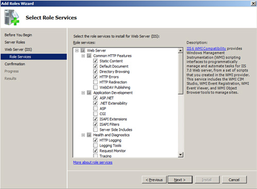 En la pantalla Select Role Services, deberemos comprobar que están seleccionados determinados elementos.