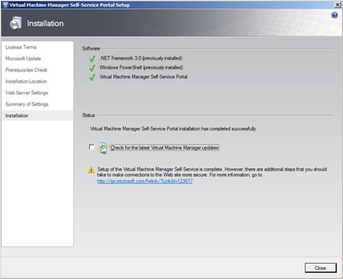 Finalización de la instalación de VMM Self-Service Portal