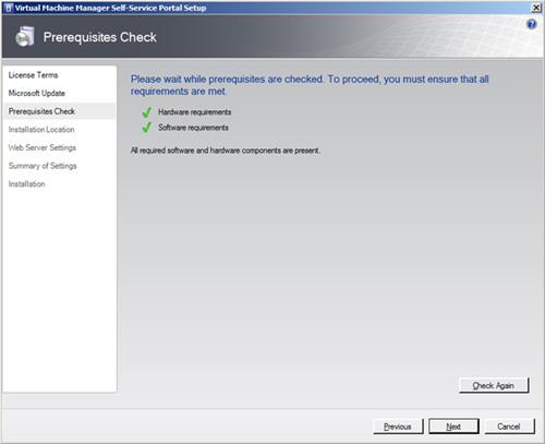 En la pantalla Prerequisites Check, si todo va OK (como debe ser), click Next