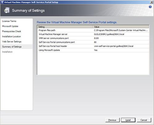 En la pantalla Summary of Settings, revisamos la info mostrada, y si está todo OK, click Install.