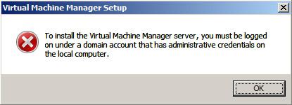 Virtual Machine Manager 2008 R2 debe instalarse sobre un servidor miembro de un dominio de Directorio Activo.