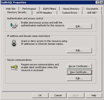 Pestaña Directory Security de IIS Manager