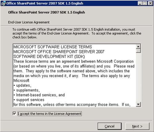 Aceptamos los términos de licencia del Office SharePoint Server 2007 SDK.