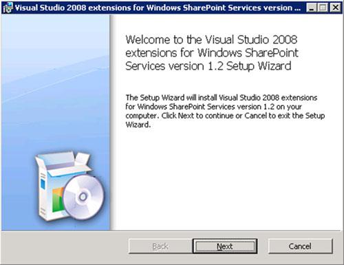 Por lo tanto, una vez instalado Visual Studio 2008 instalaremos la Extensiones de Visual Studio para Windows SharePoint Services, que podemos descargar gratuitamente desde la Web de Microsoft. En nuestro caso, se trata del ejecutable VSeWSSv12.exe (Visual Studio 2008 extensions for Windows SharePoint Services v1.2). Su instalación es muy sencilla. En la pantalla de Splash, click Next