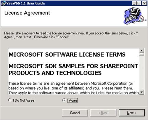 Si lo deseamos, podemos instalar los Visual Studio extensions for Windows SharePoint Services User Guide (VSeWSS11_UserGuide.msi). Aún más fácil de instalar. Aceptamos los términos de licencia.
