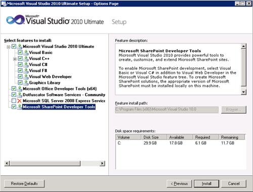 Así, si tenemos una Granja de MOSS 2010, deberemos instalar Visual Studio 2010 en nuestro entorno de desarrollo. La instalación es muy sencilla, y durante la misma, podremos seleccionar si deseamos instalar las características de Desarrollo de SharePoint
