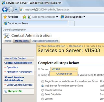 En la página Services on Server, seleccionamos el servidor sobre el cual deseamos instalar la Central Administration.