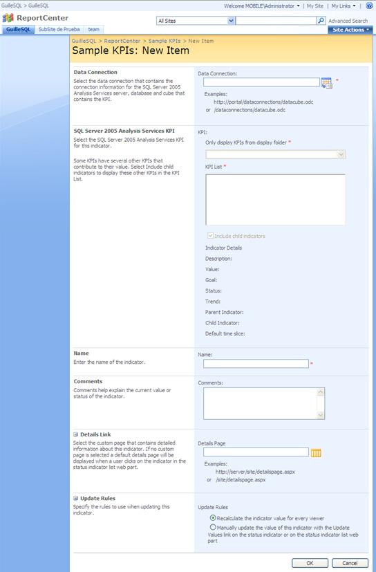 Crear Indicador KPI usando datos de Analysis Services