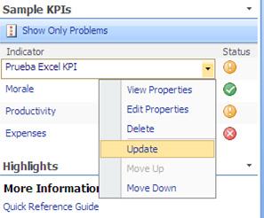 Opción Update de una Lista KPI usando datos de Excel Services