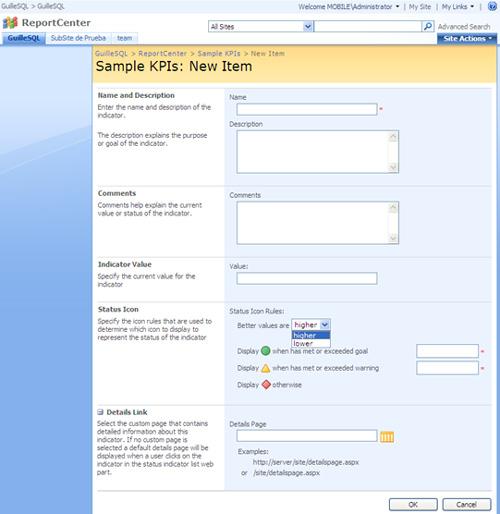 Crear un Indicador KPI usando datos introducidos manualmente, en MOSS 2007