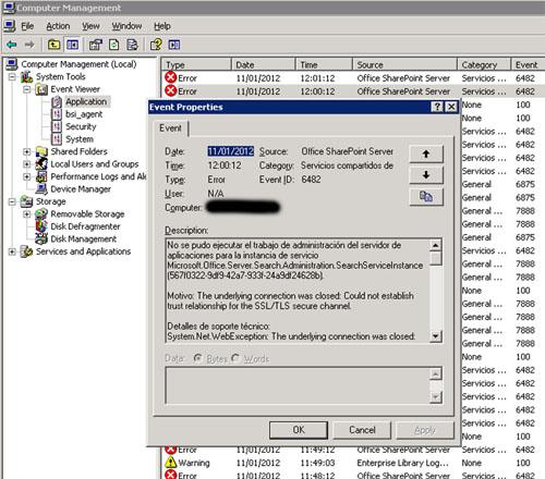 Si nos fijamos en el Visor de Sucesos de Aplicación, encontraremos multitud de errores correspondientes al Event ID 6482 con origen Office SharePoint Server.