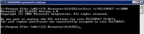 Generar un nuevo certificado autofirmado en cada uno de los Servidores de MOSS que lo tengan caducado. Para esto, puede utilizarse la herramienta SelfSSL, del Kit de Recursos de IIS, descargable de forma gratuita. Téngase en cuenta que para utilizar esta herramienta deberemos conocer el ID del Site (en nuestro caso el 951338967, pero debemos revisarlo previamente en la consola de IIS), y especificar el periodo de valided de nuevo certificado (por ejemplo 1000 días).