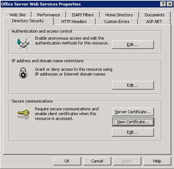 En la pestaña Directory Security, click en View Certificate para ver el certificado utilizado por este Sitio Web.